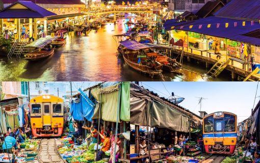 【バンコク発】2大おもしろ市場を巡ろう!メークロン傘たたみ市場&アンパワー水上マーケットナイトクルーズ